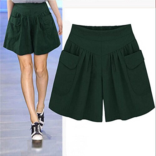 Culottes Short Pants, Han Shi Women Fashion Summer Casual Loose High Waist Pocket Pants (S, Green)