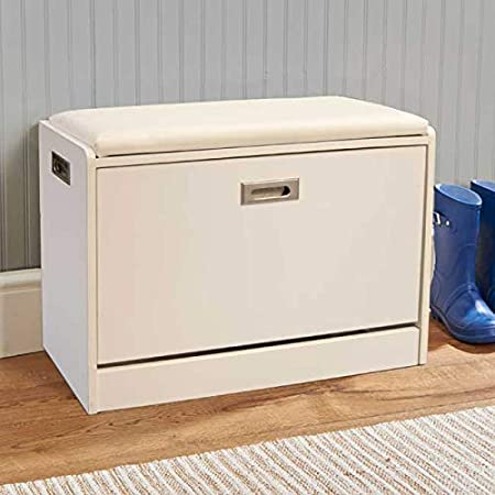 Self Assembly Shoe Ottoman bench|Easy to Use Wide 2 Tier Storage Shelf to fill all types of Shoes/|/Top cushion providing comfortable sitting|H49xW65xD30cm|Easylife Lifestyle Solutions|Store Up To 12 Pairs of Shoes|In Walnut Space Saving