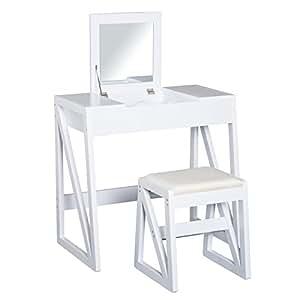 Homcom tocador mesa para maquillaje con taburete espejo tapa abatible 9 compartimientos de - Espejo con almacenaje ...