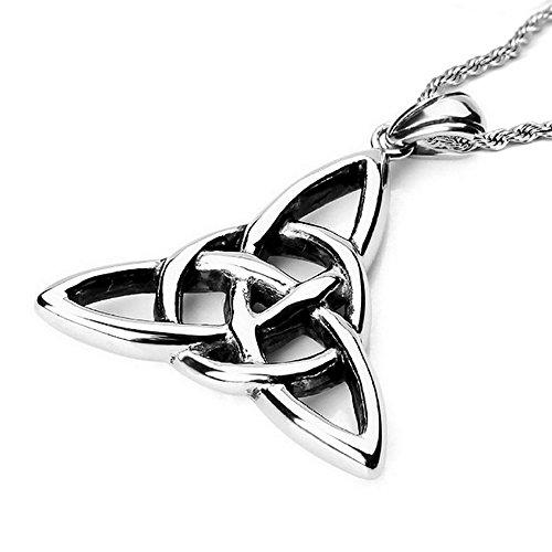 Bonnie 316L Stainless Steel Charmed Celtic Knot Triquetra Amulet Pendant Necklace
