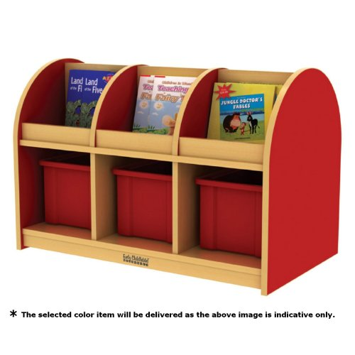 ECR4Kids Colorful Essentials Double-Sided Book Display and Storage, Toddler, Maple/Blue by ECR4Kids