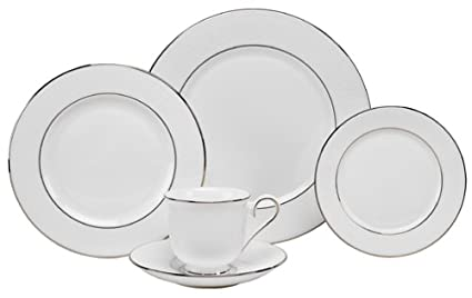 Amazon.com: Lenox Hannah Platinum Bone China 5-Piece Place Setting ...
