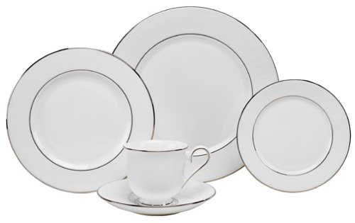 Lenox Hannah Platinum Bone China 5-Piece Place Setting, Service for 1 5 Piece Place Setting Rim