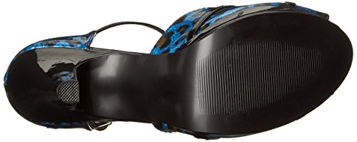 06G Blue Women's Cheetah Patent Platform Pleaser Sandal Cheetah Pearlized qAppXH