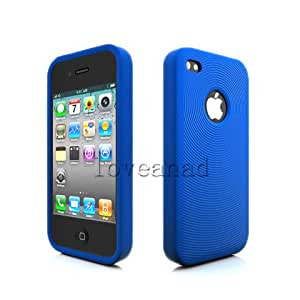 Iphone 4 and 4S Case Protective Casing Soft Durable Silicon Unique Circle Pattern Super Grip Cool Blue Stabilizes Signal on Internal Antenna Apple Iphone 4 and Iphone 4S Lightweight Case