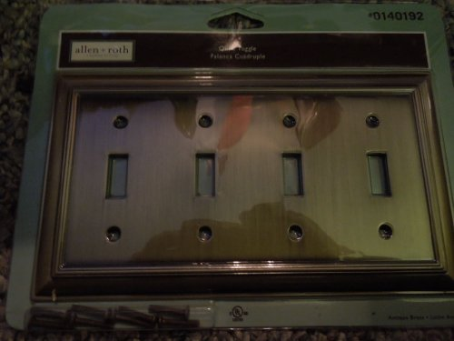 Allen Roth Quad Toggle Switch Plate Antique Brass
