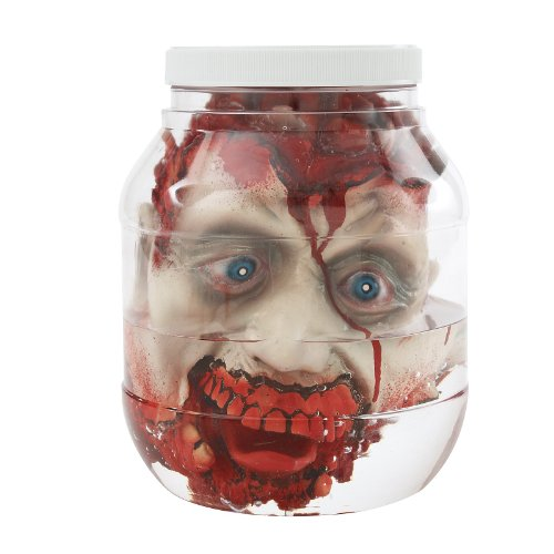 Forum Novelties Unisex-Adults Head in Laboratory Jar, Tan/Red, Standard