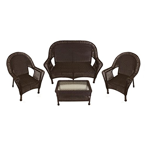 LB International 4-Piece Brown Resin Wicker Patio Furniture Set-  2 Chairs, Loveseat & Table