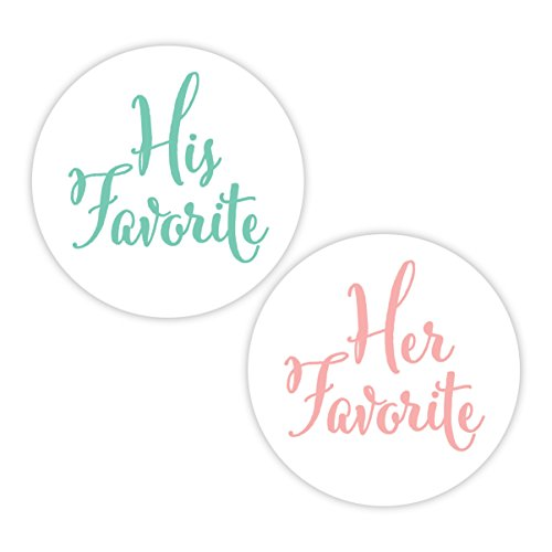 His Favorite & Her Favorite Wedding Stickers, Choose Your Colors, Wedding Favor Stickers (#376-HMBL)