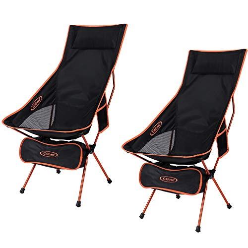 G4Free Upgraded Outdoor 2 Pack Camping Chair Portable Lightweight Folding Camp Chairs with Headrest  Pocket High Back High Legs for Outdoor Backpacking Hiking Travel Picnic Festival (Orange) best to buy