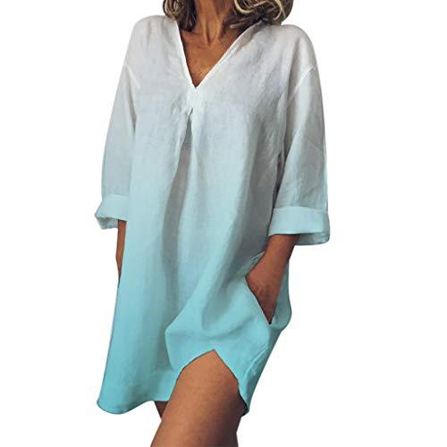 T Shirt Dresses Summer Casual Short Sleeve Swing Dress Fashion Plus Size V-Neck Easy Print Dye Gradient Dress Women (M,7- Blue)