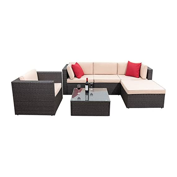 Flamaker 6 Pieces Patio Furniture Set Outdoor Sectional Sofa Outdoor Furniture Set Patio Sofa Set Conversation Set with Cushion and Table (Beige) - 【Sturdy & Durable】The structure of this set is made of coated steel frame, which has very strong load-bearing capacity. And the coating on the surface reduces the erosion of the frame by rain. 【Tough PE Rattans】Constructed from commercial grade hand woven weather-resistant PE rattan wicker. The combination of this kind of high- quality material, make this kind of sofa can withstand the test of time and sunshine completely. 【Adjustable Screws】There are adjustable screws on the table and chair. If your floor is slightly uneven, you can try adjusting the screws.It can help you fine-tune the height. - patio-furniture, patio, conversation-sets - 416JRrgaa3L. SS570  -