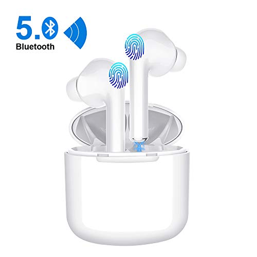 Wireless Earbuds, Smart Touch Control True Wireless Bluetooth 5.0 Headphones TWS in-Ear Headsets Built-in Mic Noise Cancelling for Sport with Charging Case White