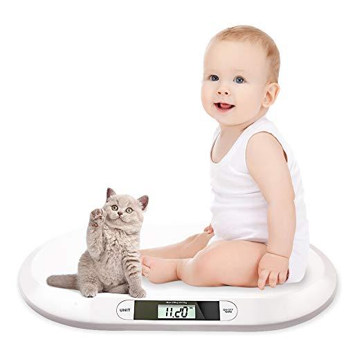 wolketon Babywaage Flach Digitalwaage Stillwaage Tierwaage, für Neugeborene bis 20kg mit LCD-Display, Tara Funktion, automatische Abschalt, Weiß (56cm x 35cm x 4.5cm)