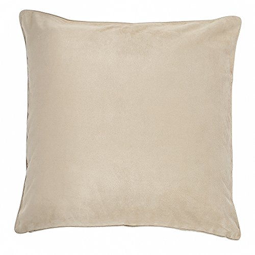 DreamHome - Solid Faux Suede Piping Edge Pillow Cover/Sham, 20