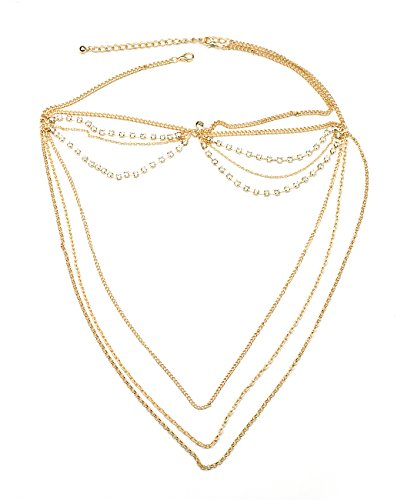 (Women's Bohemian Fashion Head Chain Jewelry - 2 Draping Rhinestone Strand w/ 3 Cascade)