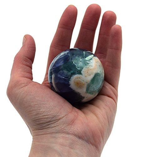 Relaxing Teal and Purple Fluorite Crystal Aura Sphere, 2