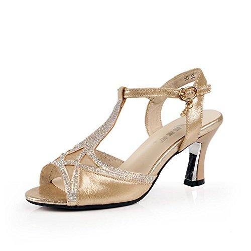 de Zapatos Adulta Latino de Cuero Verano Zapatos Fondo Baile Tobillo de Onecolor BYLE con de Sandalias Blando Jazz Mujer de Baile la Sandalias Samba Modern Oro de 5nTqnx0wBO