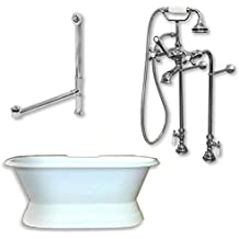 Cambridge Plumbing DE67-684D-PKG-CP-7DH Cast Iron Double Ended Clawfoot Tub44; Polished Chrome - 67 x 30 in.