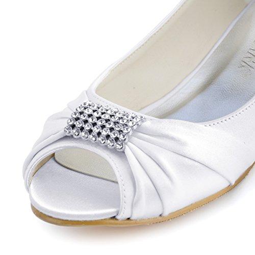 Elegantpark Donne Peep Toe Strass Comfort Appartamenti Da Sposa In Raso Plissettato Scarpe Da Sposa Bianco