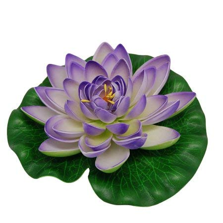 Meide-Group-USA-12-inch-XLarge-Floating-Lotus-Lily-pad-Foam-Flowers-for-Ponds-Weddings-Pool-and-Garden-Decor-Set-of-2-Violet
