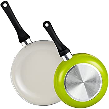 Cook N Home 8 and 9.5-Inch Nonstick Ceramic Coating Saute Fry Pan Set, Green