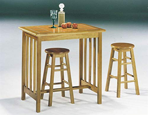 (ACME 02140OT Metro Pack Breakfast Set Mission Style Tile Top, 3-Piece, Oak/Terracotta Finish)
