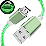 Galaxy S7 Edge Charger Cord, 3FT Micro USB Cable LED Lighting Charging Cable Glow in The Dark Light Up Visible Flowing Android Charger Cable for Galaxy S7 S6 Edge J7 J3, LG Stylo (Green)