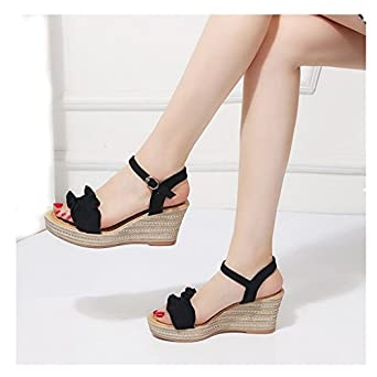 123e3354299 Farjing Shoes for Women Fashion Women Wedge Heels Ruffle Peep Toe Buckle  Strap Sexy Sandals Pumps