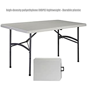 Heavy Duty Construction Light-weight Portable 5' HDPE Folding Table Indoor-Outdoor Laptop Desk Picnic Camp Party Dining Table # 1178
