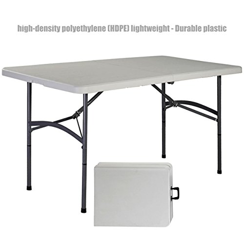 Heavy Duty Construction Light-weight Portable 5' HDPE Folding Table Indoor-Outdoor Laptop Desk Picnic Camp Party Dining Table # 1178 by Koonlert@shop