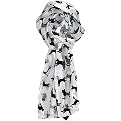 Ted and Jack - Stylish Feline Silhouette Silk Feel Cat in White