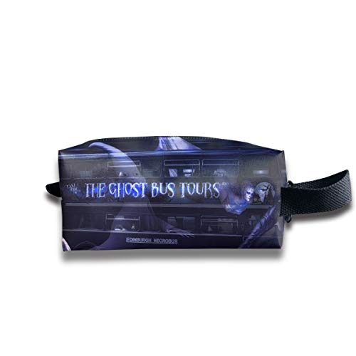 Cool Halloween Ghost Tour Bus Multi-Function Key Purse Coin Cash Pencil Travel Makeup Toiletry Bag Box Case ()