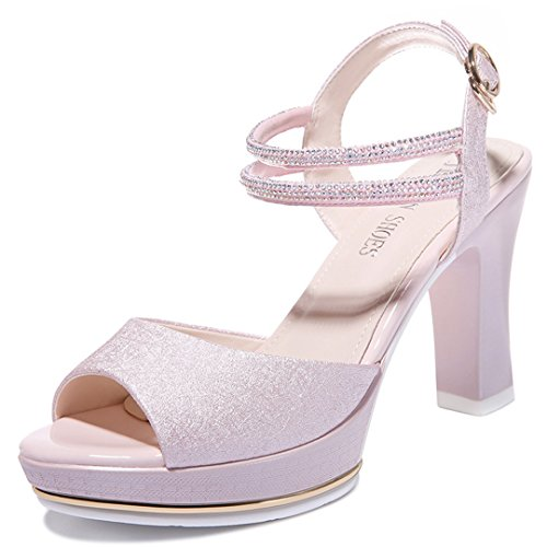 Womens Heeled Sandals Peep Toe Chunky High Heel Slingback Dress Sandals,Evening Shoes Ankle Strap Sandals