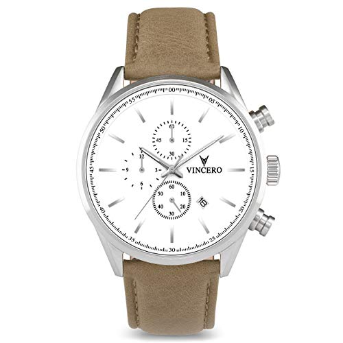 - Vincero Luxury Men's Chrono S Wrist Watch - Top Grain Italian Leather Watch Band - 43mm Chronograph Watch - Japanese Quartz Movement (Silver/Sandstone)