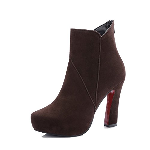Heels AgooLar Pull Brown Top Frosted High On Solid Boots Women's Low 4xCwxfqE6