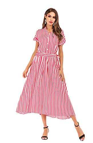 Women's Summer Classic Black-White Stripes Batwing Sleeves Maxi Casual Plus Size Button up Shirt Dress (Red-White Stripes, M)