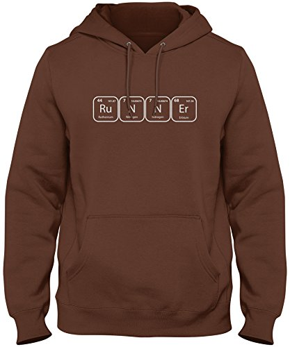 ShirtLoco Men's Runner Periodic Table Of Elements Hoodie Sweatshirt, Chocolate Large