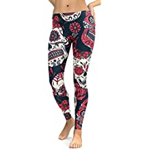 Clearance HGWXX7 Women High Waist Gym Yoga Skull Print Running Fitness Leggings Pants Tights Workout Clothes