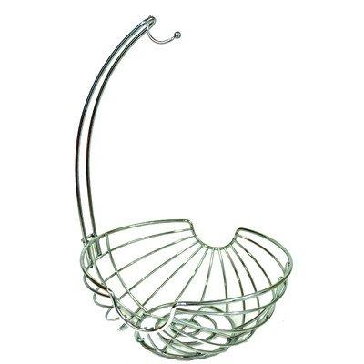 Superiore Livello Chrome Fruit Basket with Banana Hanger, Elegant and Decorative Fruit Bowl with Banana Hook.