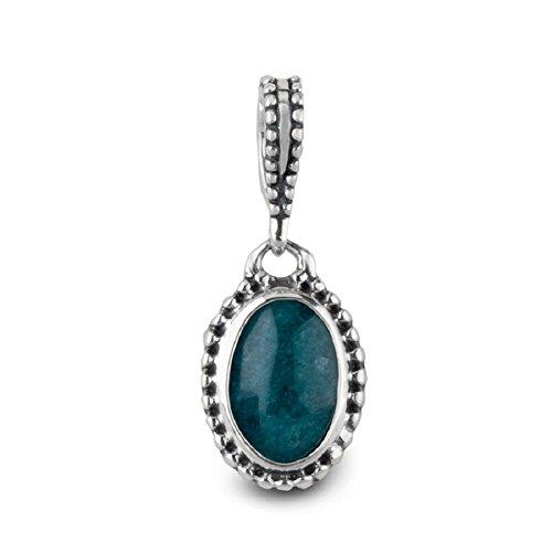 Carolyn Pollack Sterling Silver Teal Quartzite Oval Gemstone Charm Pendant Enhancer