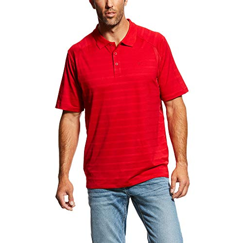 ARIAT Men's Ac Polo True Crimson Stripe Size - Stripe Crimson