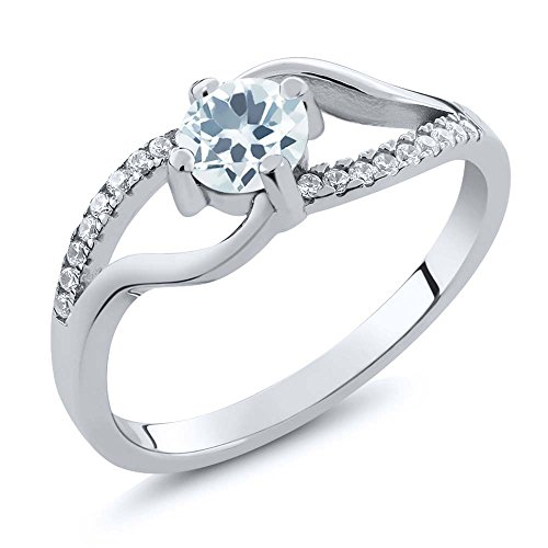 0.67 Ct Genuine Round Sky Blue Aquamarine 925 Sterling Silver Women's Ring (Available in size 5, 6, 7, 8, 9)