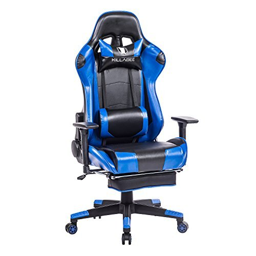 KILLABEE Racing Style Gaming Chair with Footrest - Big and Tall 400lb E-Sports High Back Ergonomic Computer Leather Office Chair with Adjustable Padded Headrest and Lumbar Support (Blue&Black)
