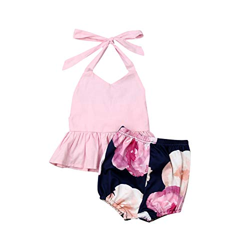 - Newborn Baby Girl Sunflower Halter Fringe Top Polka Dot Bloomer Shorts Outfit Summer Clothes Set (Style C,0-6 Months)