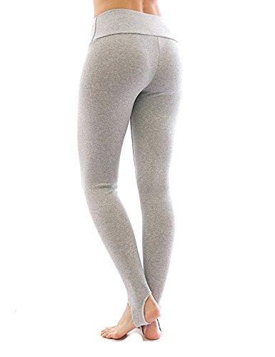 Thermo Polaire haute COULEUR avec barre legging coton pantalons leggings - Beige, XXL