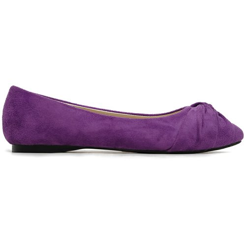 Cute Ballet Flat Shoe Women's Purple Faux Knot Suede Comfort Ollio gwq016Rx7