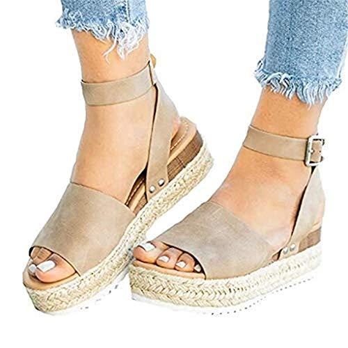 POHOK Hemp Thick with Women Sandals Casual Women