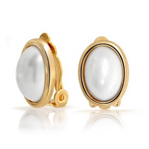 Classic Oval Clip On Earrings White Simulated Pearl Cabochon Bezel Set For Non Pierced Ears 14K Gold Plated Brass