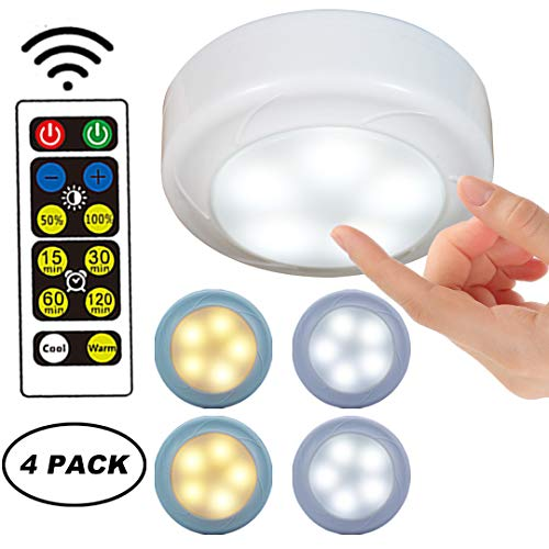 WRalwaysLX Battery Powered Touch Night Light,LED Wireless Push Lights for Kitchen Under Cabinet Lighting,Closets, Cabinets, Counters, 4 Packs, Warm/Cool White